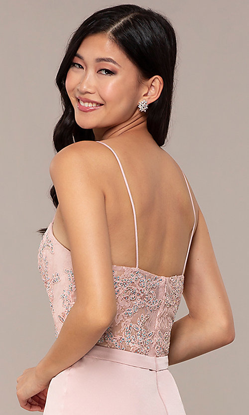 Image of long dusty pink satin prom dress with lace. Style: DQ-2631 Detail Image 2