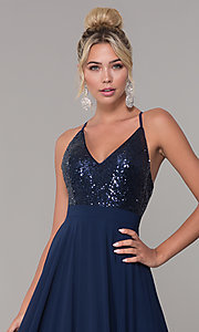 Image of sequin-bodice prom dress with back straps. Style: DQ-2680 Detail Image 1