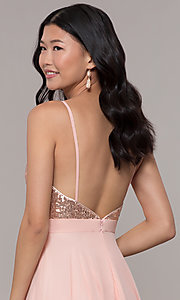 Image of sequin-bodice prom dress with crossing back straps. Style: DQ-2680 Detail Image 7