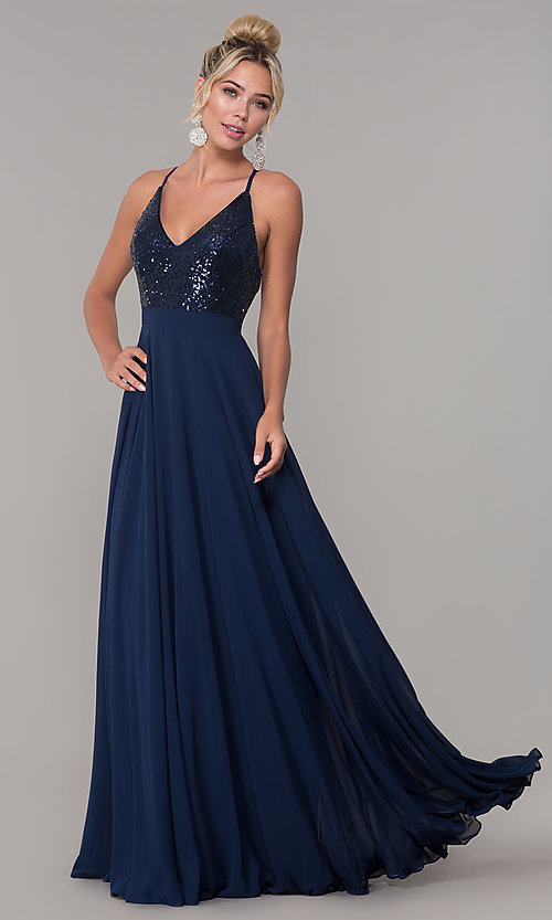 Image of sequin-bodice prom dress with back straps. Style: DQ-2680 Front Image