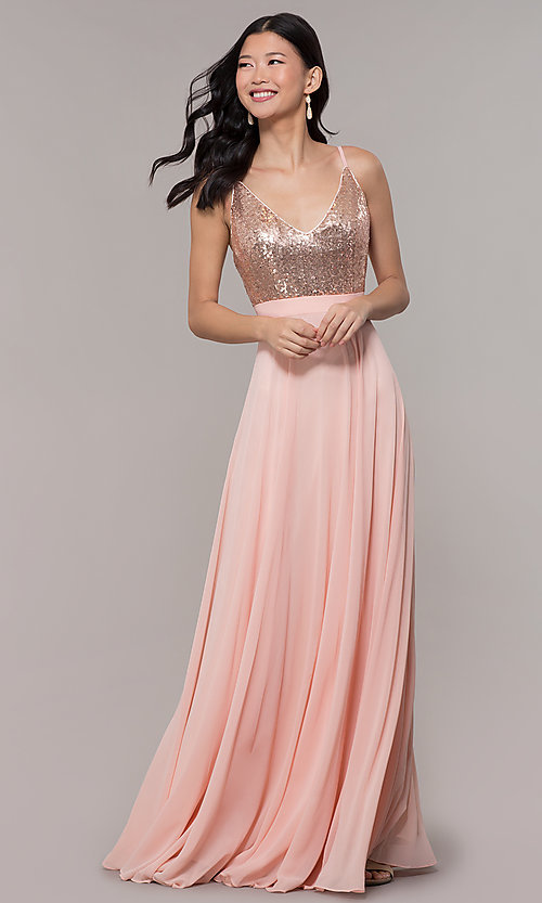 Image of sequin-bodice prom dress with back straps. Style: DQ-2680 Detail Image 3
