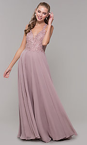 Image of long sleeveless embroidered-bodice prom dress. Style: DQ-2621 Front Image