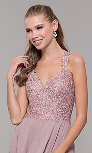 Image of long sleeveless embroidered-bodice prom dress. Style: DQ-2621 Detail Image 1