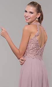Image of long sleeveless embroidered-bodice prom dress. Style: DQ-2621 Detail Image 2