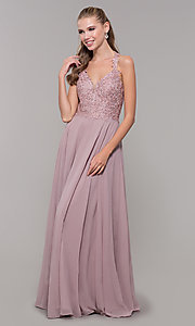 Image of long sleeveless embroidered-bodice prom dress. Style: DQ-2621 Detail Image 3
