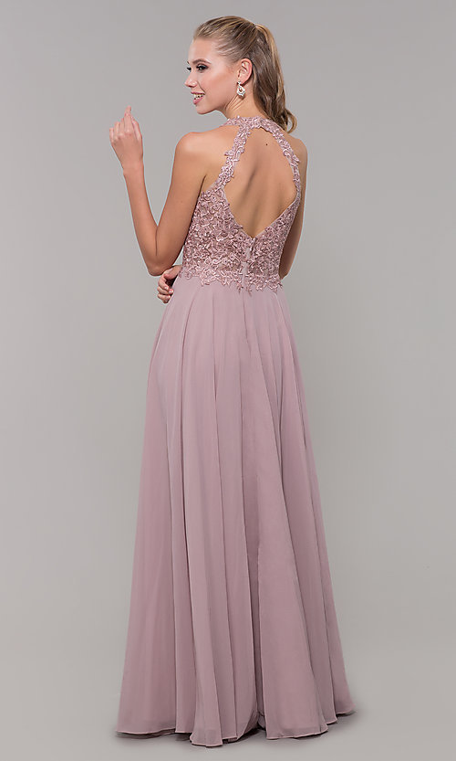 Image of long sleeveless embroidered-bodice prom dress. Style: DQ-2621 Back Image