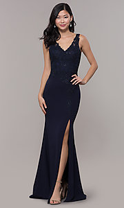 Image of bead-embellished long prom dress with side slit. Style: DQ-2622 Front Image