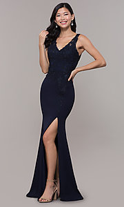 Image of bead-embellished long prom dress with side slit. Style: DQ-2622 Detail Image 3