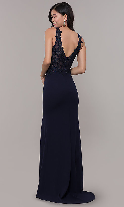 Image of bead-embellished long prom dress with side slit. Style: DQ-2622 Back Image