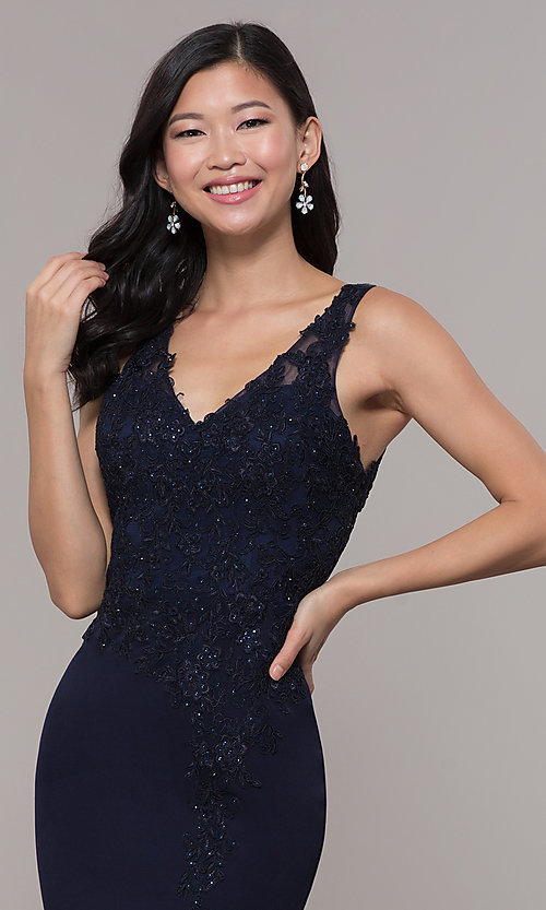 Image of bead-embellished long prom dress with side slit. Style: DQ-2622 Detail Image 1