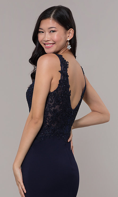 Image of bead-embellished long prom dress with side slit. Style: DQ-2622 Detail Image 2
