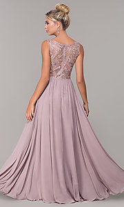 Image of embroidered-bodice mocha long formal prom dress. Style: DQ-2553 Back Image