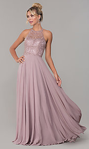 Image of chiffon long prom dress with embroidered bodice. Style: DQ-2678 Front Image