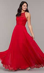 Image of chiffon long prom dress with embroidered bodice. Style: DQ-2678 Detail Image 4