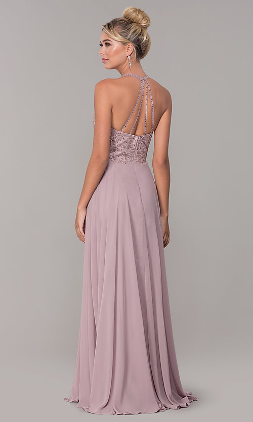 Image of chiffon long prom dress with embroidered bodice. Style: DQ-2678 Back Image