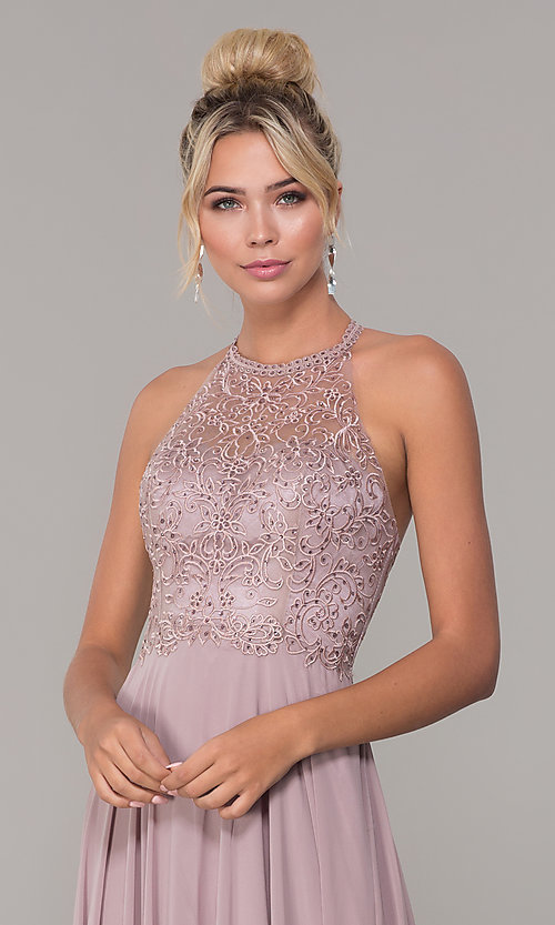 Image of chiffon long prom dress with embroidered bodice. Style: DQ-2678 Detail Image 1