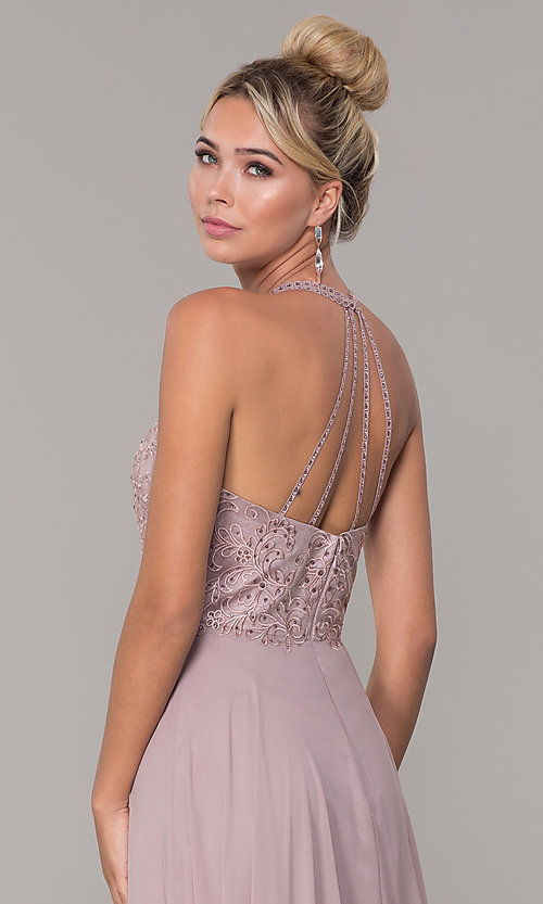Image of chiffon long prom dress with embroidered bodice. Style: DQ-2678 Detail Image 2