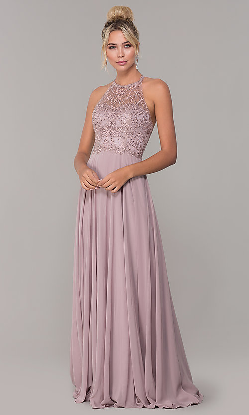 Image of chiffon long prom dress with embroidered bodice. Style: DQ-2678 Detail Image 3