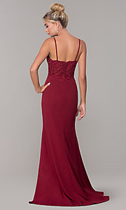 Image of v-neck long formal dress with embroidered bodice. Style: DQ-2620 Detail Image 5