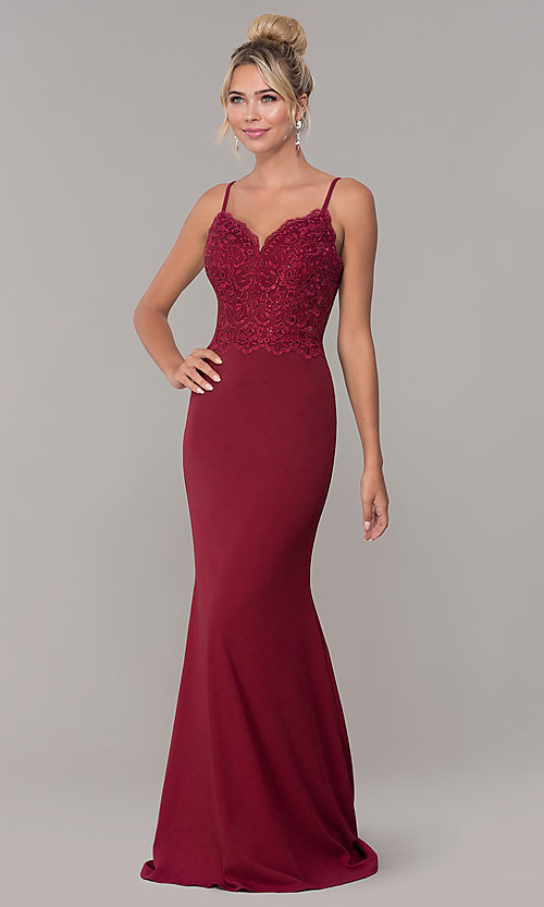 Image of v-neck long formal dress with embroidered bodice. Style: DQ-2620 Detail Image 4