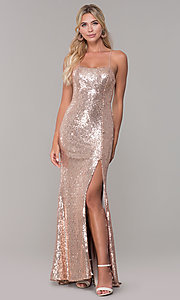 Image of long sequin corset-back formal dress. Style: DQ-2667 Front Image