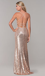 Image of long sequin corset-back formal dress. Style: DQ-2667 Back Image