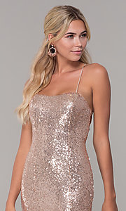 Image of long sequin corset-back formal dress. Style: DQ-2667 Detail Image 1