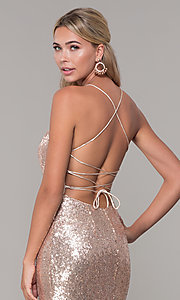 Image of long sequin corset-back formal dress. Style: DQ-2667 Detail Image 2