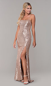 Image of long sequin corset-back formal dress. Style: DQ-2667 Detail Image 3