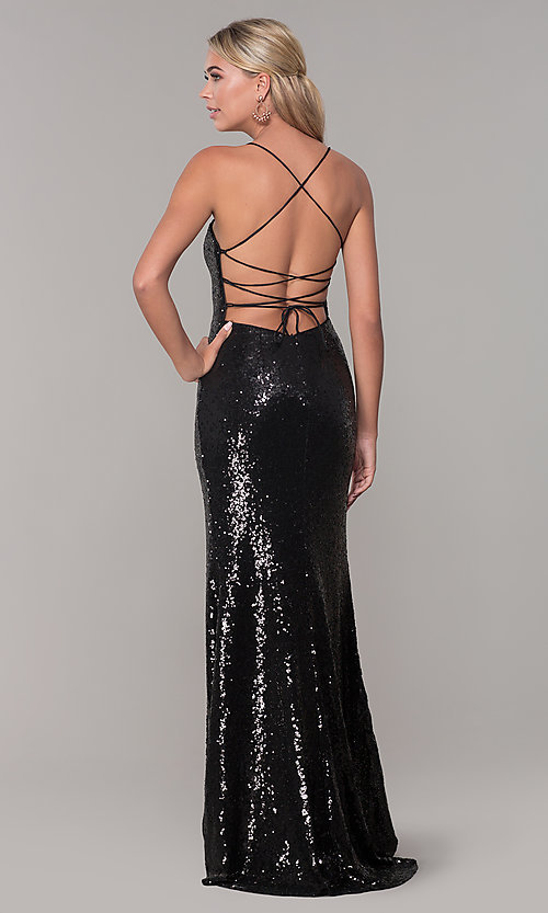 Image of long sequin corset-back formal dress. Style: DQ-2667 Detail Image 5