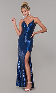Image of sequined long v-neck formal dress. Style: DQ-2408 Detail Image 4