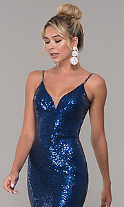 Image of sequined long v-neck formal dress. Style: DQ-2408 Detail Image 6