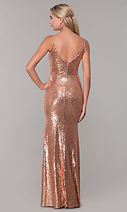 Image of sequined long v-neck formal dress. Style: DQ-2408 Back Image