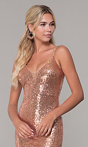 Image of sequined long v-neck formal dress. Style: DQ-2408 Detail Image 1