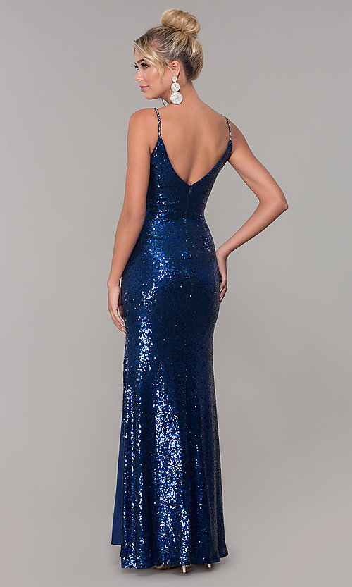 Image of sequined long v-neck formal dress. Style: DQ-2408 Detail Image 5