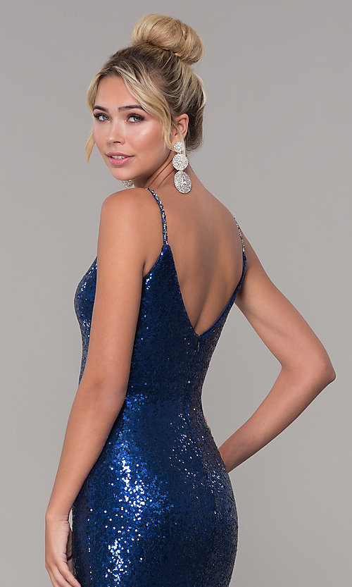 Image of sequined long v-neck formal dress. Style: DQ-2408 Detail Image 7