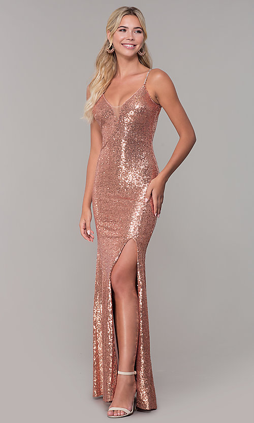 Image of sequined long v-neck formal dress. Style: DQ-2408 Front Image