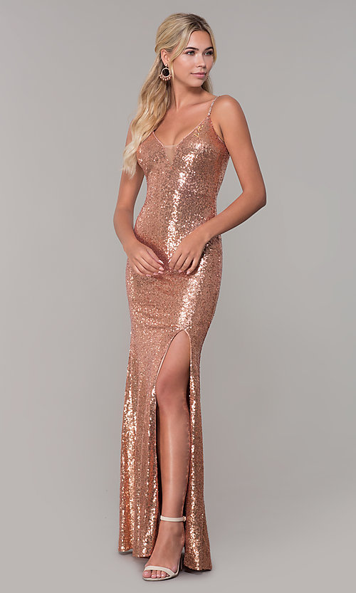Image of sequined long v-neck formal dress. Style: DQ-2408 Detail Image 3