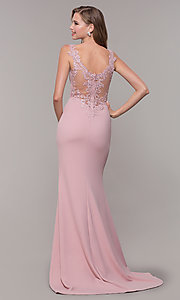 Image of sheer-back long formal dress with embroidery. Style: DQ-2623 Back Image