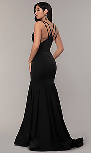 Image of racerback formal prom dress with trumpet skirt. Style: ASH-1532 Back Image