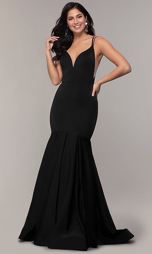Image of racerback formal prom dress with trumpet skirt. Style: ASH-1532 Front Image