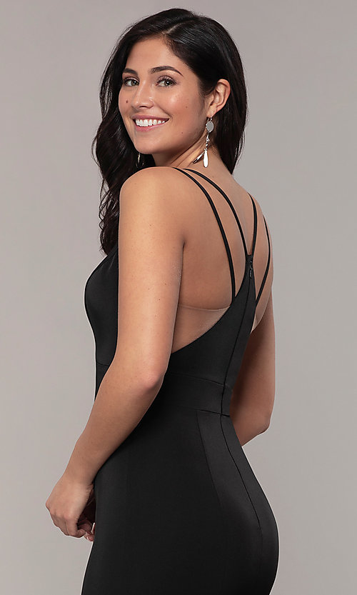 Image of racerback formal prom dress with trumpet skirt. Style: ASH-1532 Detail Image 2