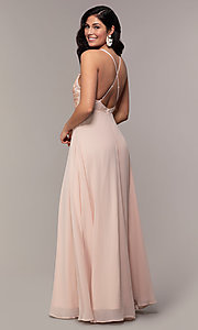Image of open-back lace-applique v-neck long formal dress. Style: LP-25786 Detail Image 5