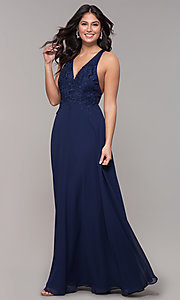 Image of open-back lace-applique v-neck long formal dress. Style: LP-25786 Front Image