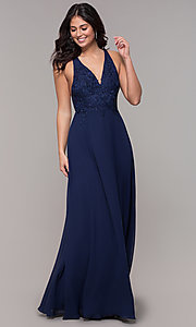 Image of open-back lace-applique v-neck long formal dress. Style: LP-25786 Detail Image 3