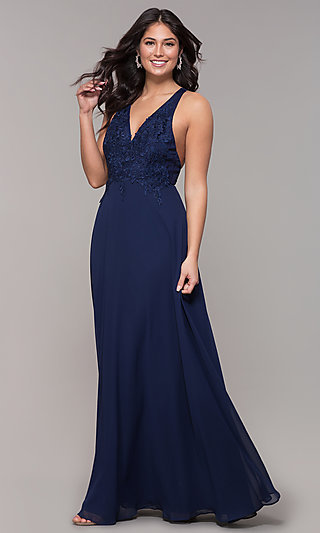 Open-Back Lace-Applique V-Neck Long Formal Dress