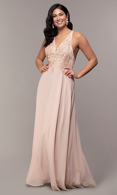 Image of open-back lace-applique v-neck long formal dress. Style: LP-25786 Detail Image 4