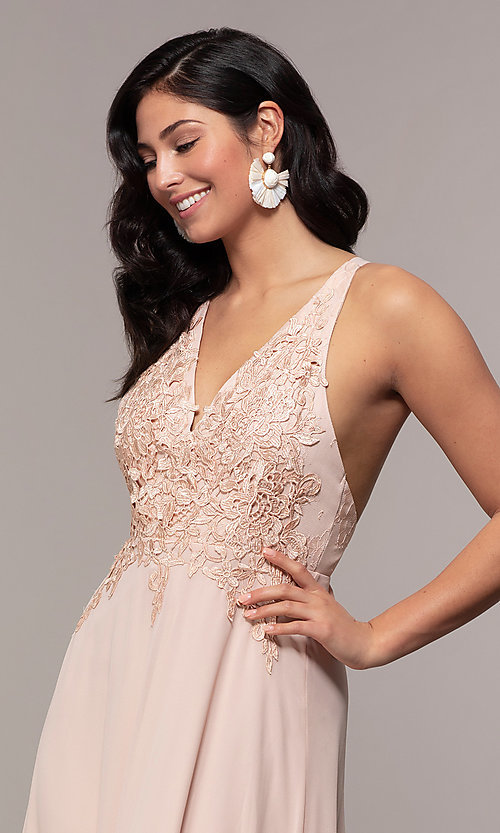 Image of open-back lace-applique v-neck long formal dress. Style: LP-25786 Detail Image 6