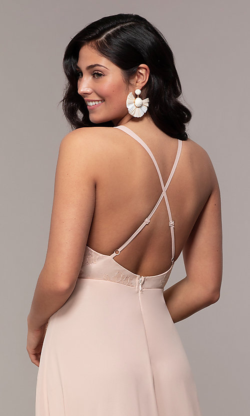 Image of open-back lace-applique v-neck long formal dress. Style: LP-25786 Detail Image 7