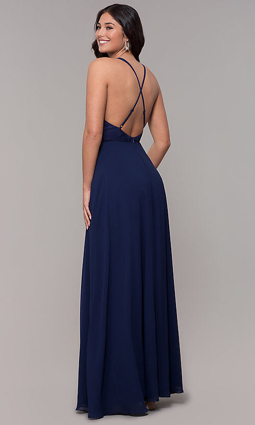 Image of open-back lace-applique v-neck long formal dress. Style: LP-25786 Back Image